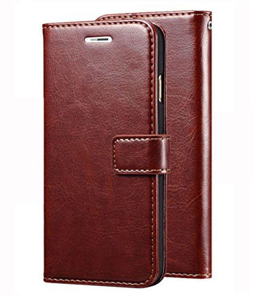 VIVO V7+ INFINITE LOVE LIMITED EDITION Flip Cover by ClickAway - Brown Original Vintage Wallet Flip Case with Kickstand