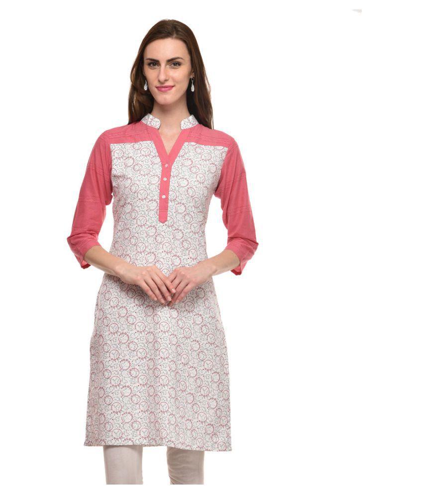 Kalakaari Pink Cotton A-line Kurti