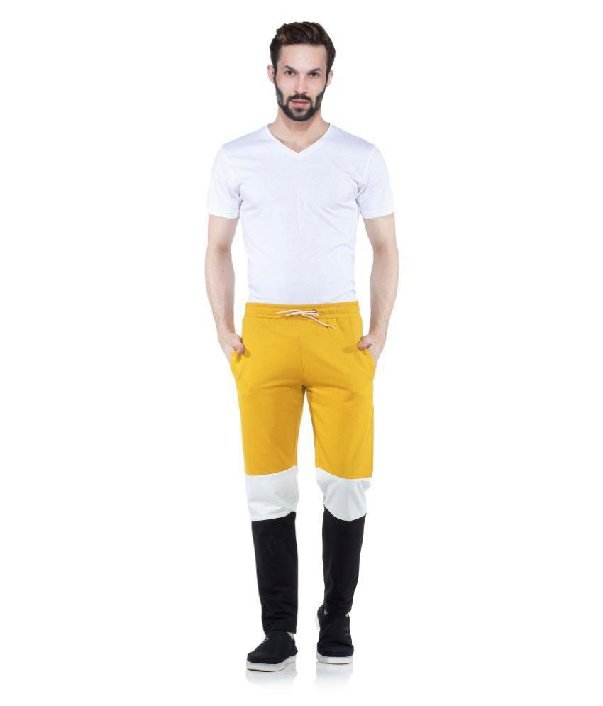 Tinted Mustard Cotton Blend Trackpants