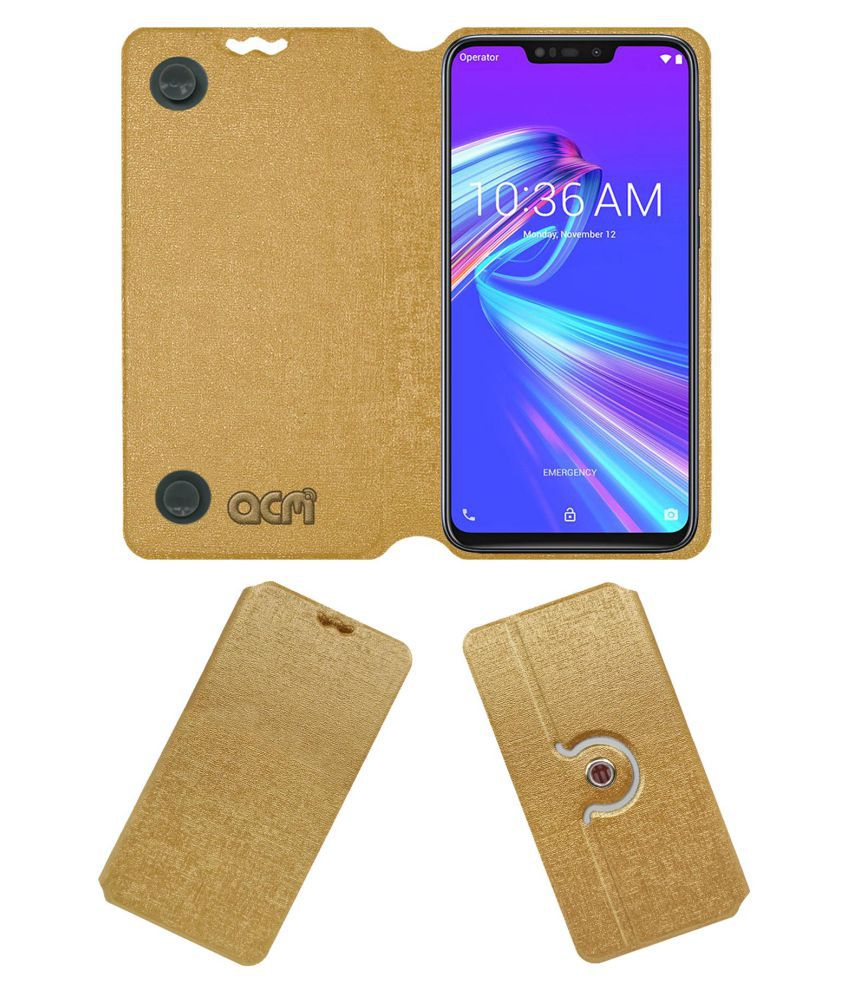 Asus Zenfone Max M2 Flip Cover by ACM - Golden Dual Side Stand