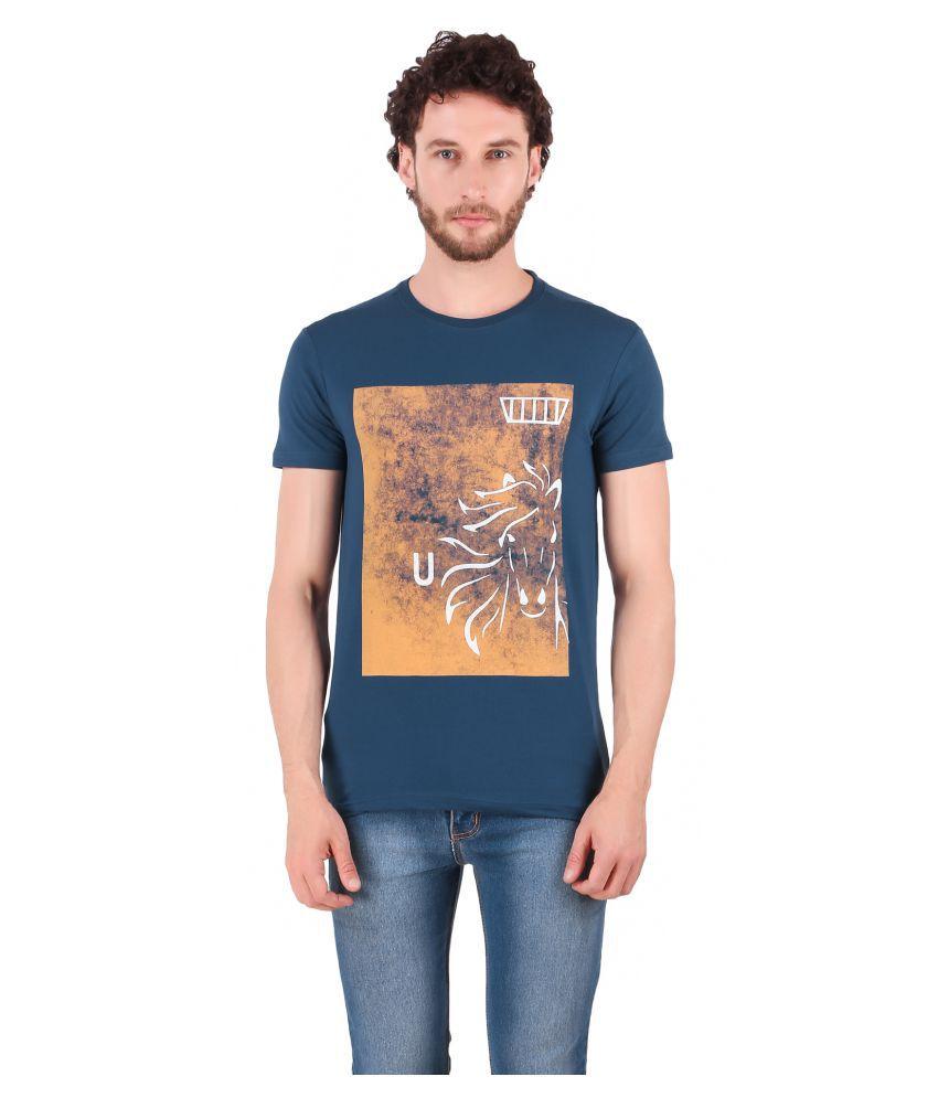 URBAN COP Cotton Lycra Blue Printed T-Shirt