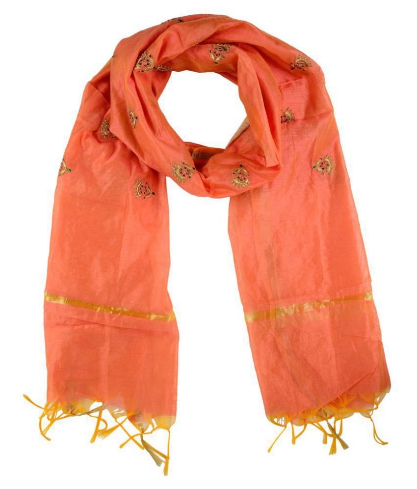 Fabric and Lace Orange Tassels Silk Stoles