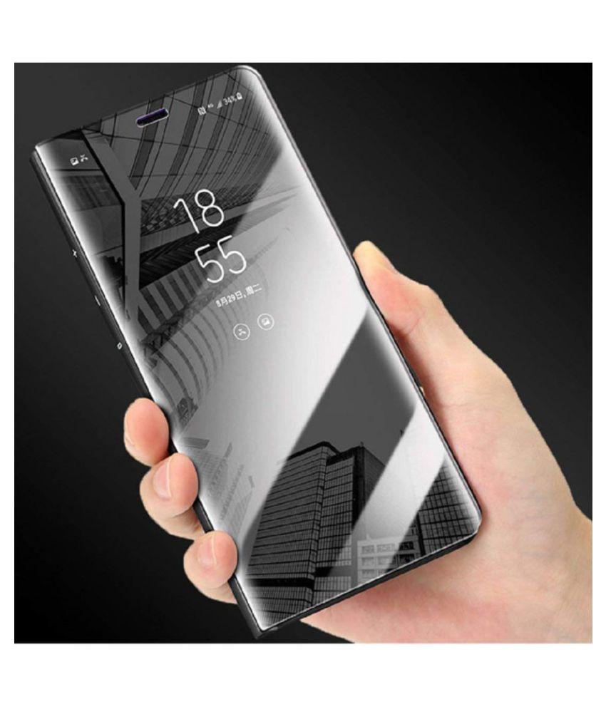 Xiaomi Redmi Note 7 Pro Flip Cover by KOVADO - Black Black Clear View Mirror Flip Case With Media Stand
