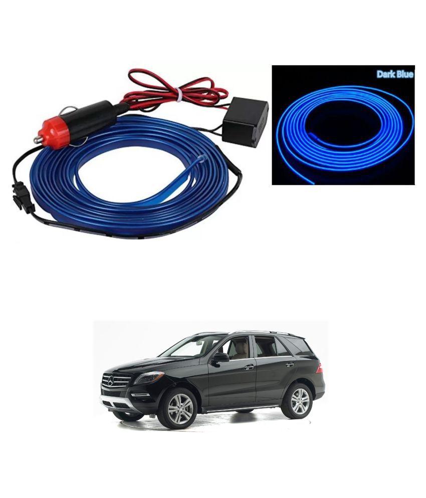 Auto Addict Blue Color 12V 5Mtrs Roll Cold Light Car Socket Strip Neon Lamp EL Wire Decor Interior Lighting For Mercedes Benz M-Class