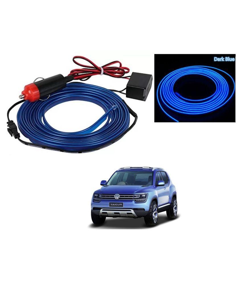 Auto Addict Blue Color 12V 5Mtrs Roll Cold Light Car Socket Strip Neon Lamp EL Wire Decor Interior Lighting For Volkswagen Tiguan