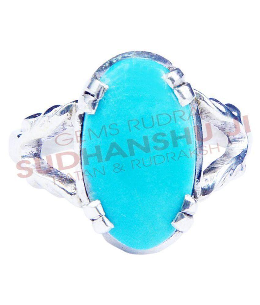 sudhanshu ji ratan evam rudraksha 92.5 Silver Turquoise Ring