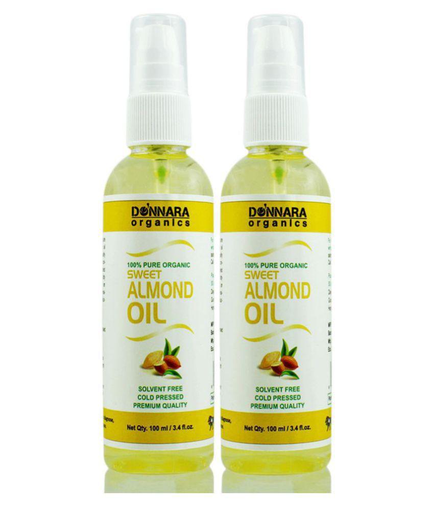 Donnara Organics 100% Pure & Natural Sweet Almond oil-  200 ml Pack of 2
