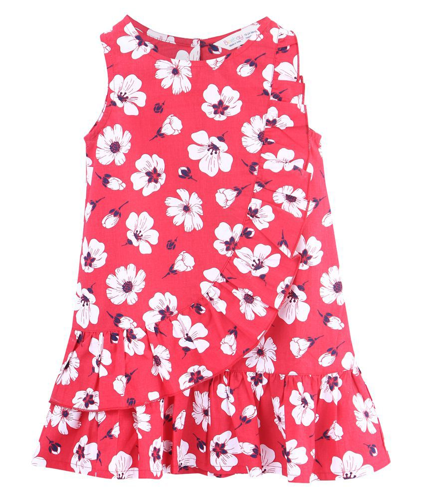 Red and White Floral Dress Red 2Y