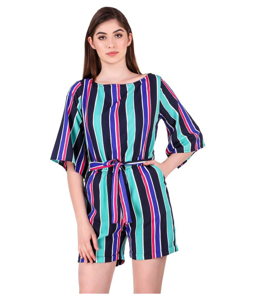 Fasnoya Multi Color Poly Crepe Jumpsuit
