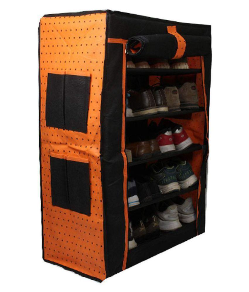 PrettyKrafts Orange Collapsible Multiple Shoes Organizer