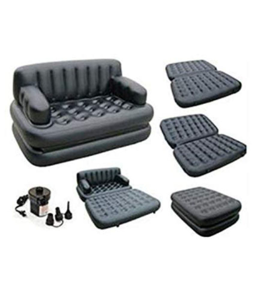 5 in 1 Inflatable Air Sofa Three Seater Queen Size Air Sofa Cum Bed, Lounge Couch Mattress Inflatable with Free