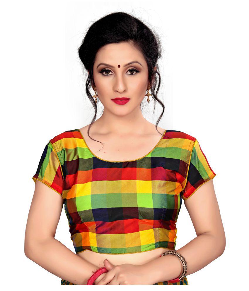 Fab Dadu Yellow Silk Readymade with Pad Blouse