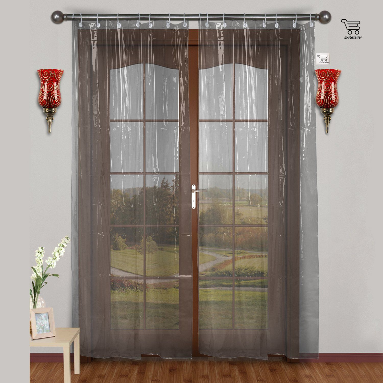 E-Retailer Single Window Transparent Ring Rod PVC AC Curtains White