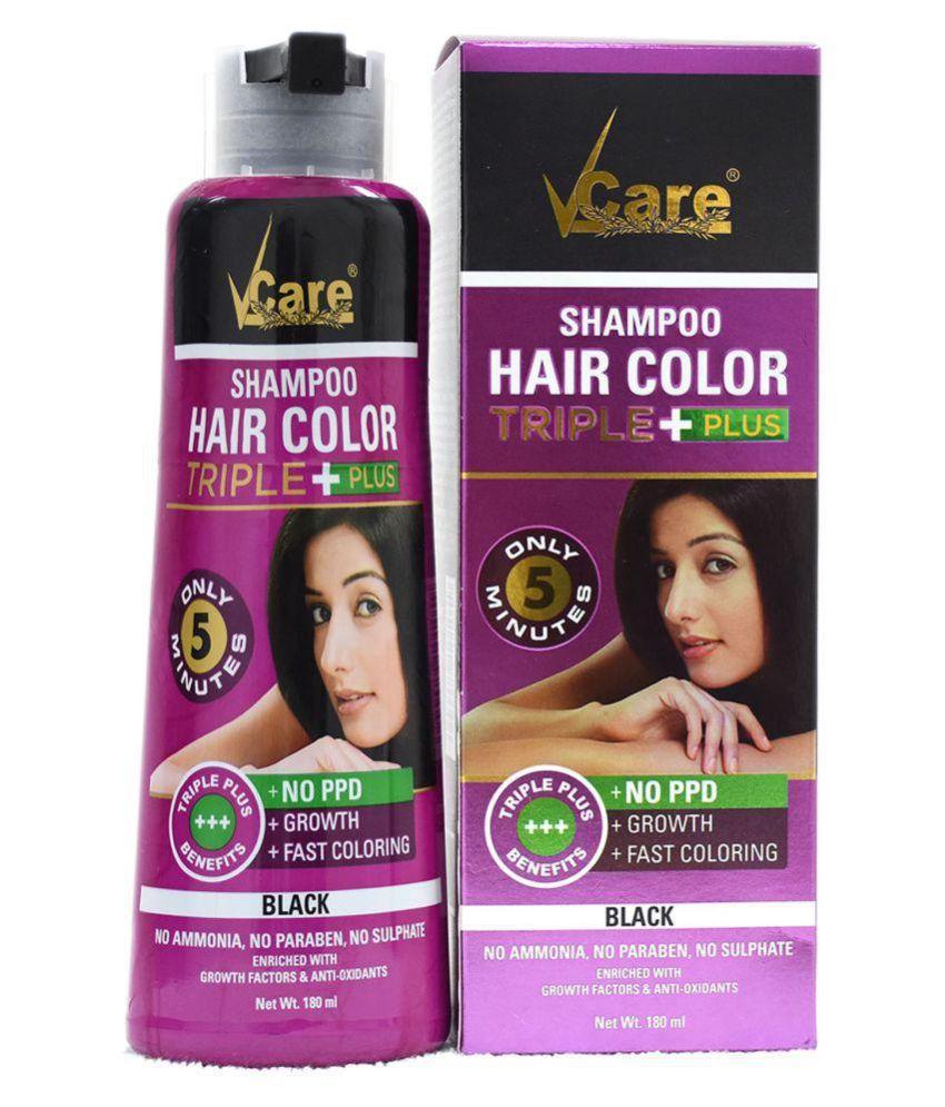 VCare Shampoo Hair Color Temporary Hair Color Black 180 mL: Buy ...