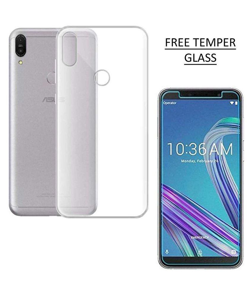 Zenfone-Max M1 Soft Silicone TPU Transparent Back Case Cover With Free 360 Degree Rotating Metal Ring Holder by D DESIGN