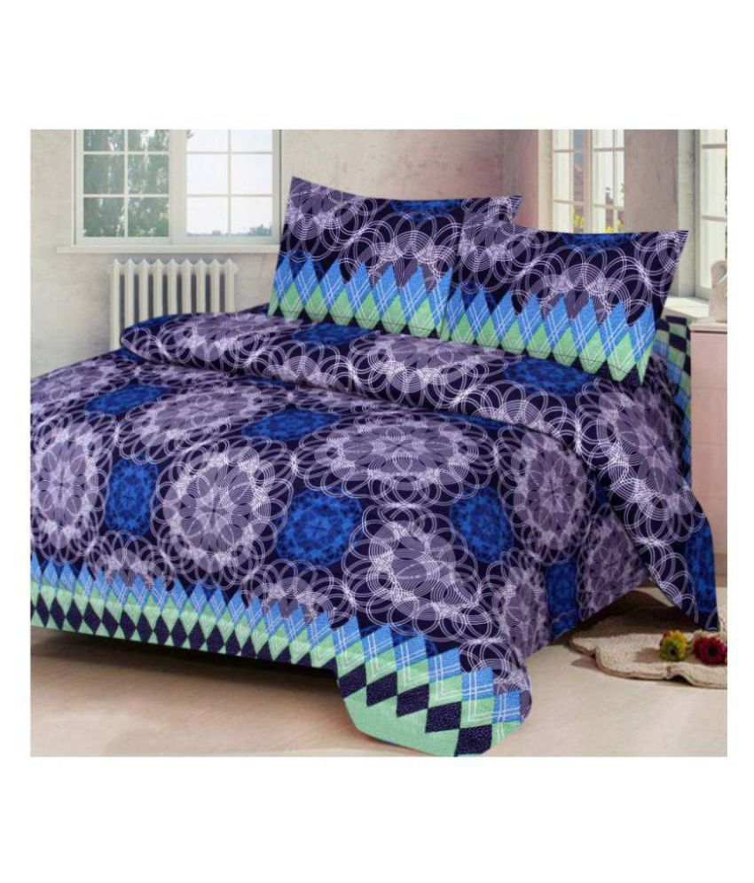 Ak Traders Poly Cotton Double Bedsheet with 2 Pillow Covers