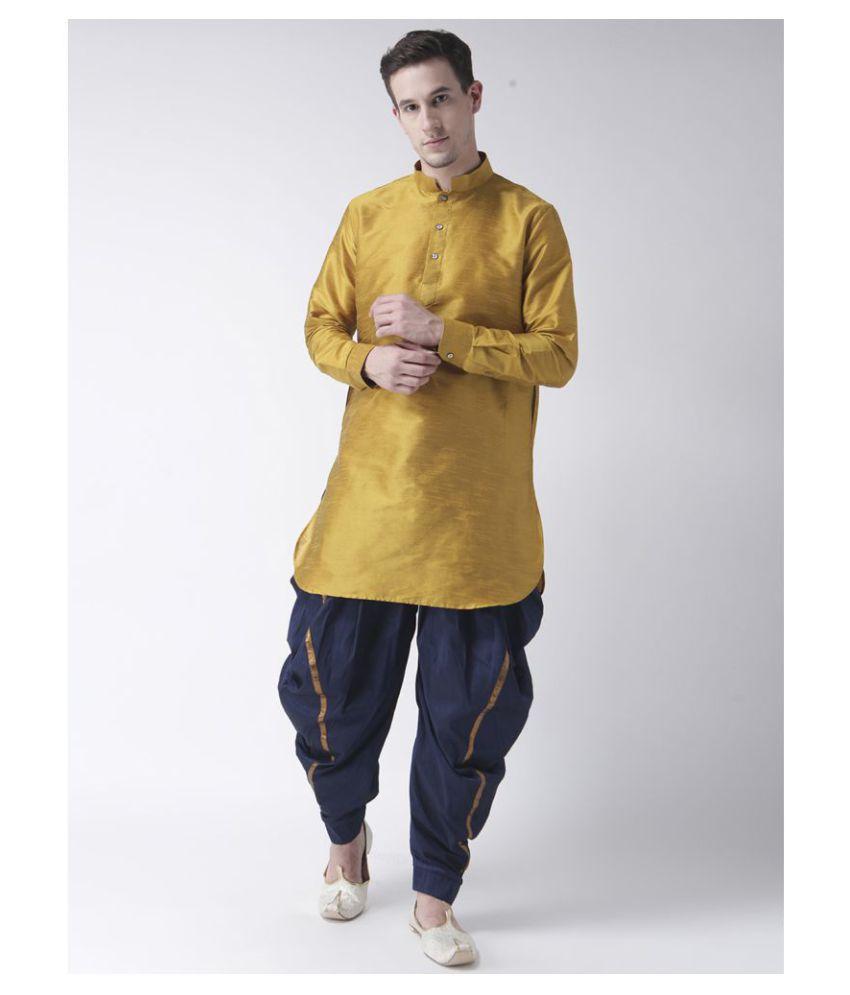 Deyann Yellow Silk Blend Kurta Pyjama Set