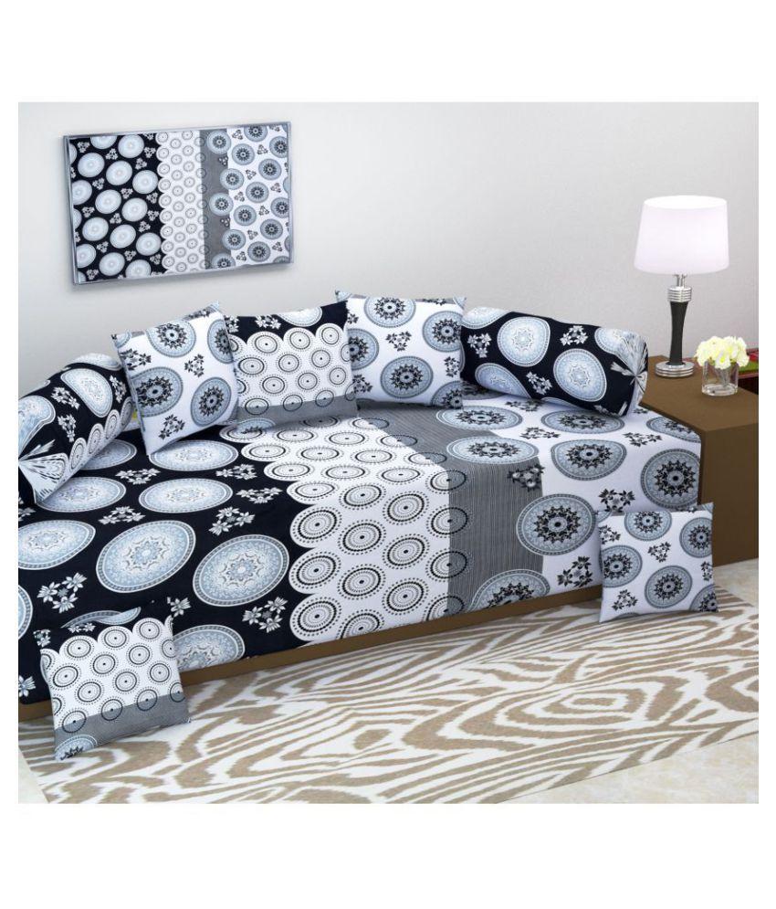 Homefab India Cotton Black Abstract Diwan Set 8 Pcs