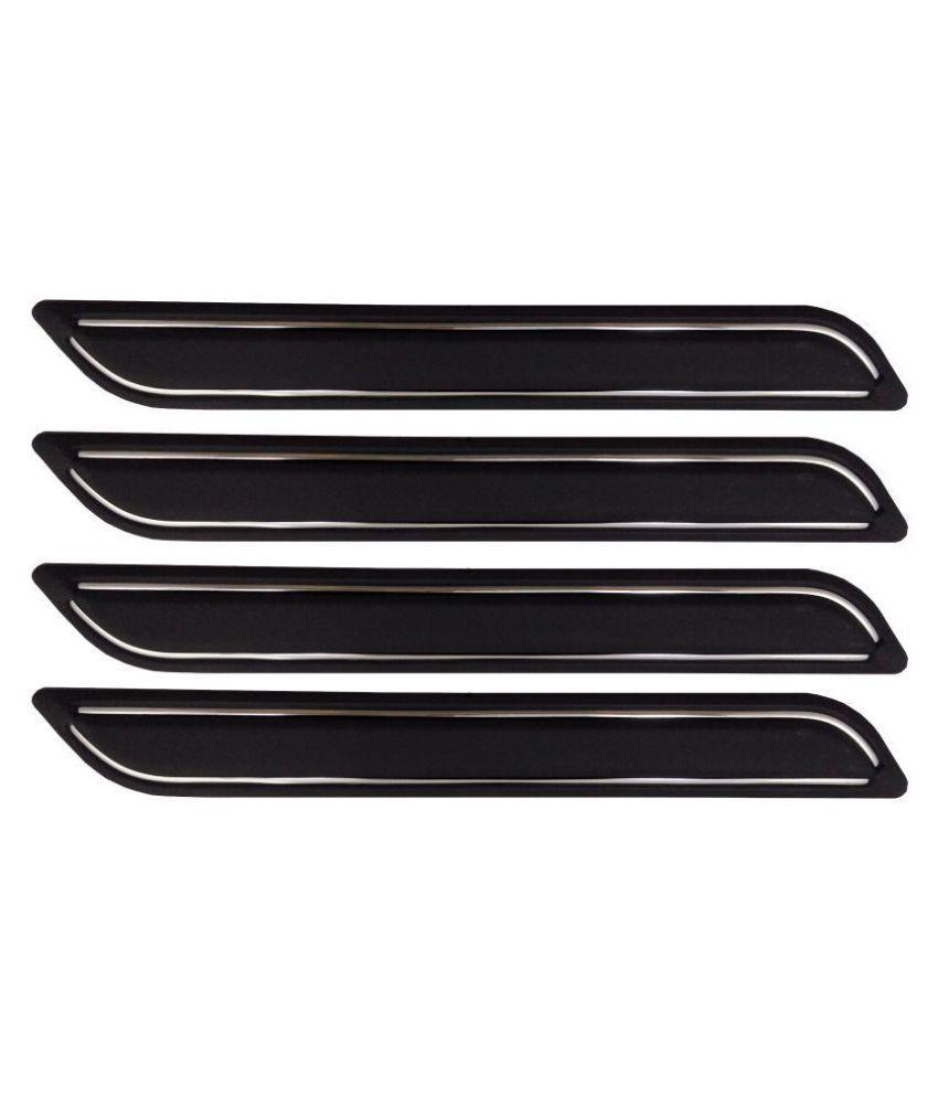 Ek Retail Shop Car Bumper Protector Guard with Double Chrome Strip (Light Weight) for Car 4 Pcs  Black for SkodaRapid1.5TDIAT