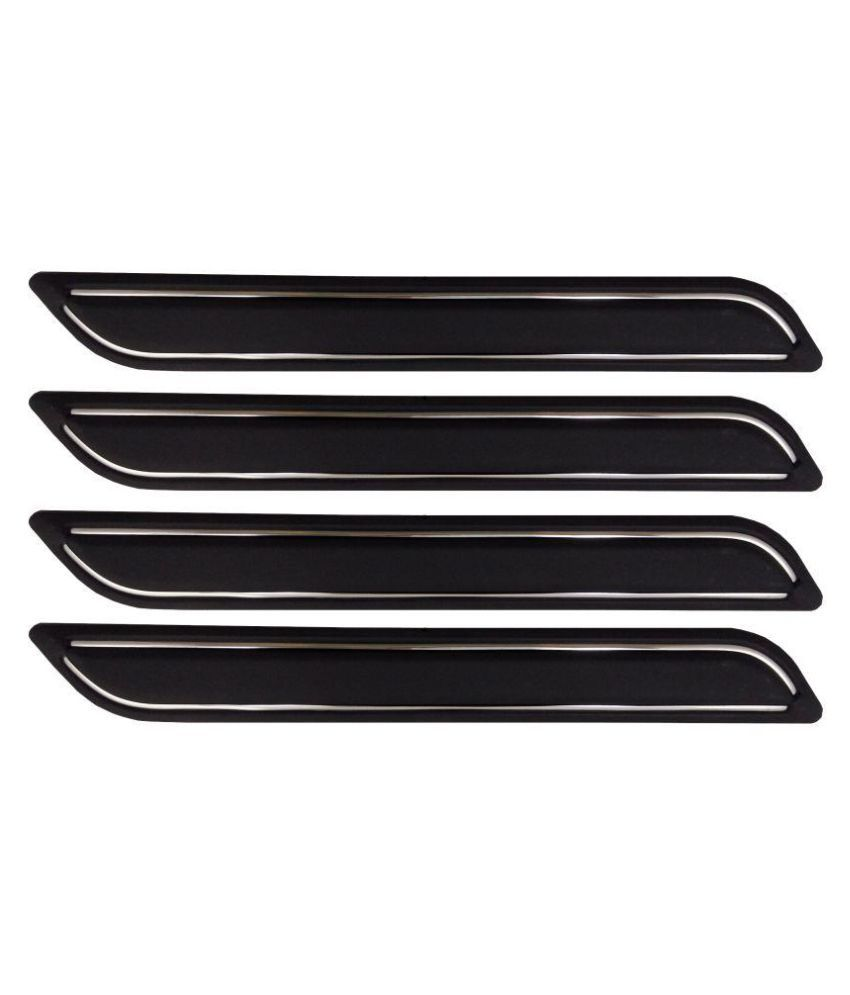 Ek Retail Shop Car Bumper Protector Guard with Double Chrome Strip (Light Weight) for Car 4 Pcs  Black for Maruti SuzukiRitzZXi