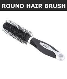 Roots Hair Brushes and Classic Round Hair Brush with Soft Tip Bristles (Black)