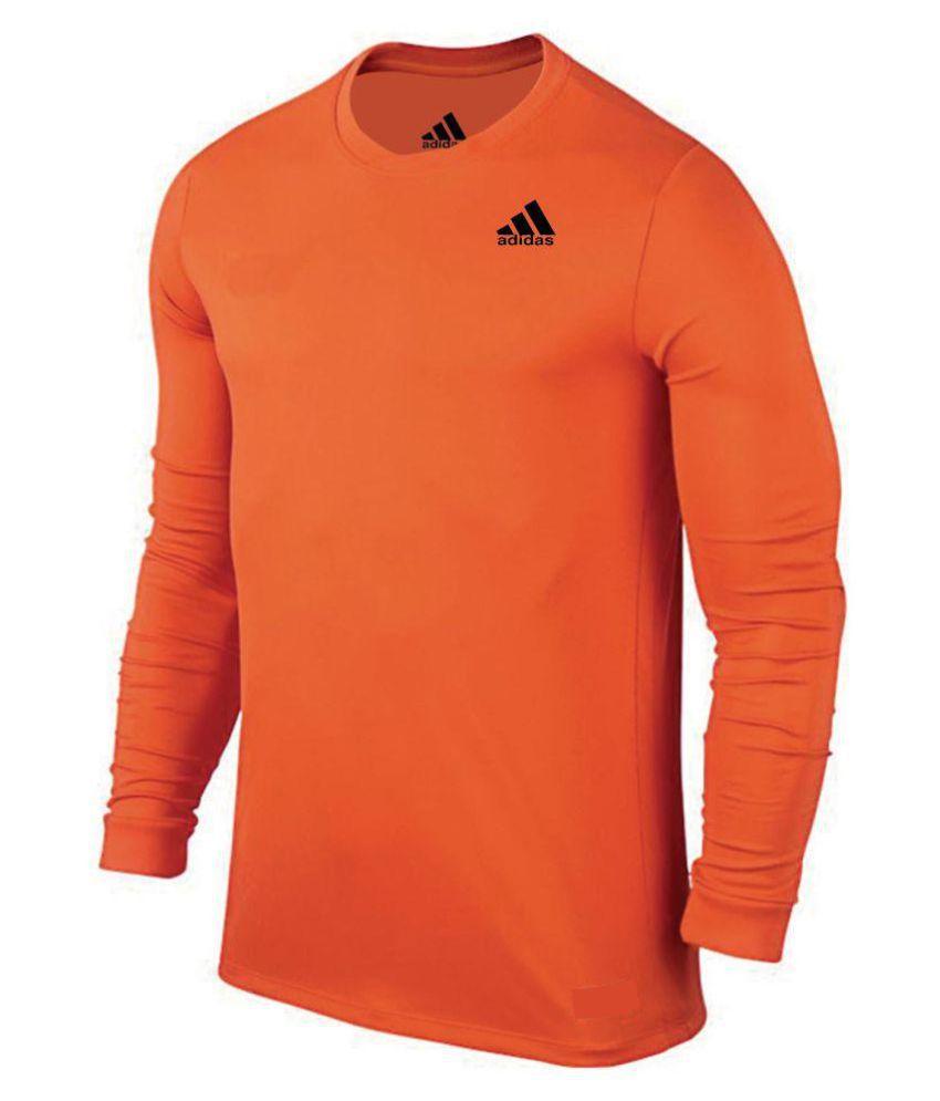 Adidas Orange Polyester Viscose T-Shirt