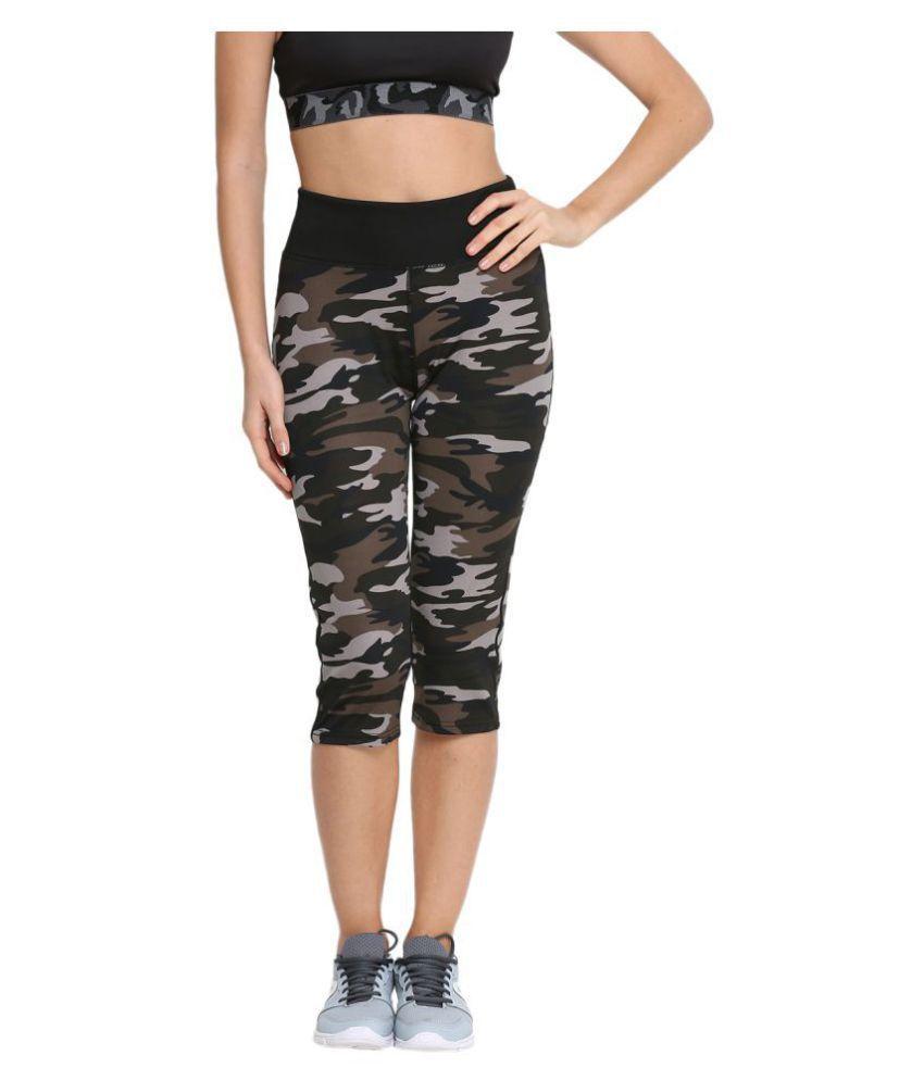 CHKOKKO Solid Casual Designer Camouflage Yoga Sports Stretchable High Waist Track Yoga Capri for women