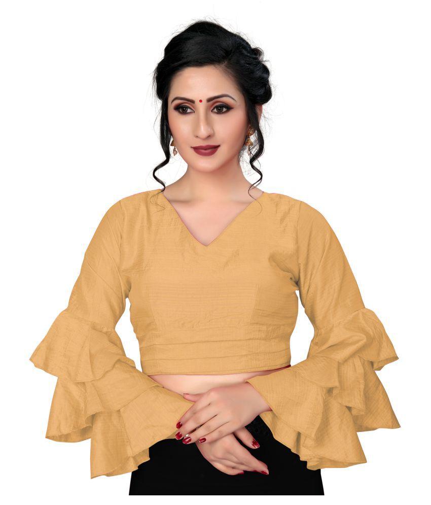 Fab Dadu Beige Silk Readymade with Pad Blouse