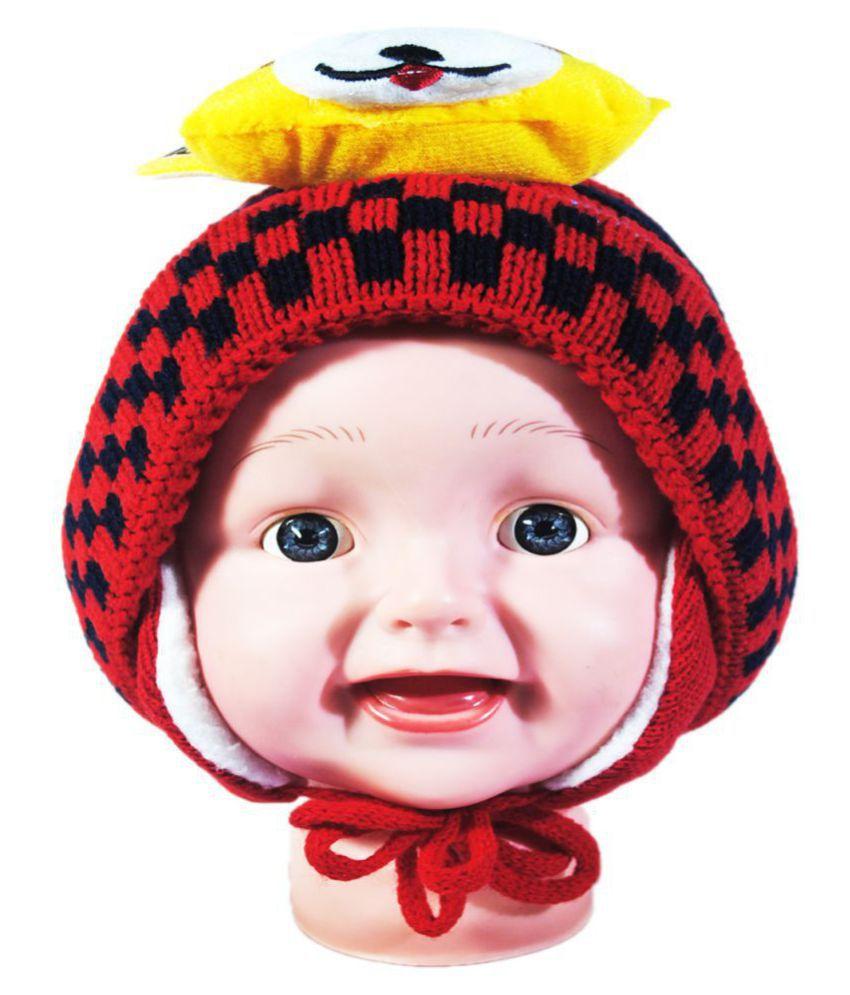 Kids Stylish Winter Cap/ Woollen Cap (Red)