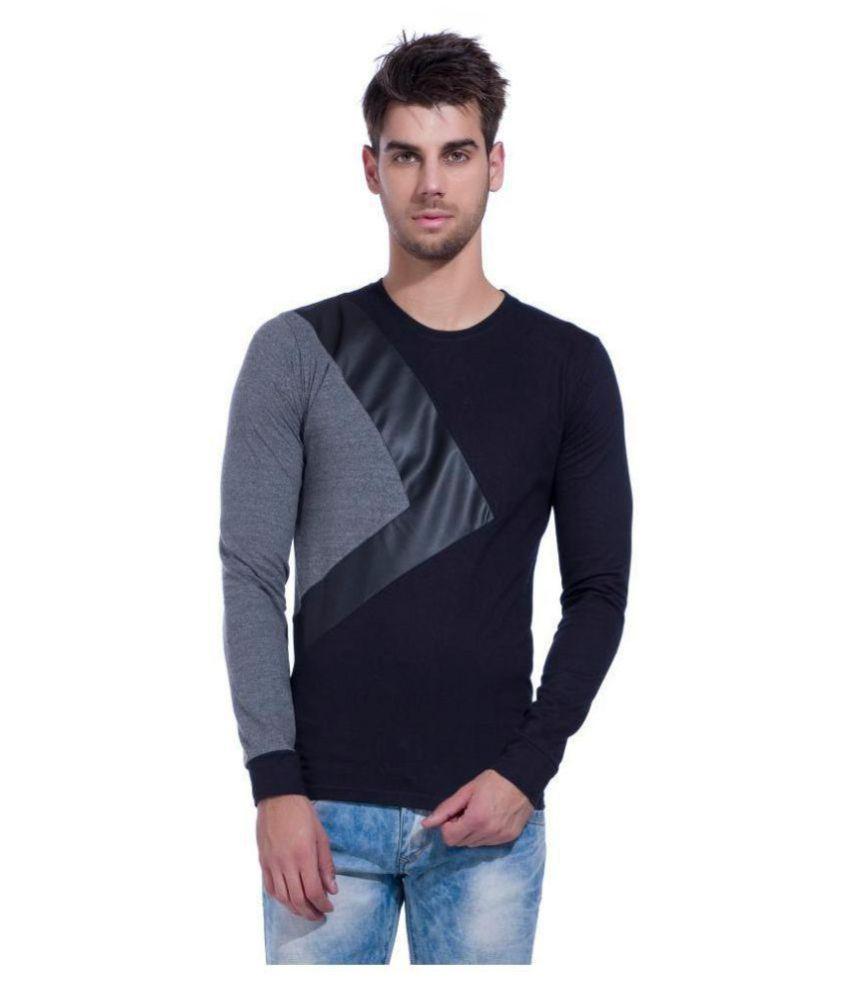 LEWEL Black Full Sleeve T-Shirt