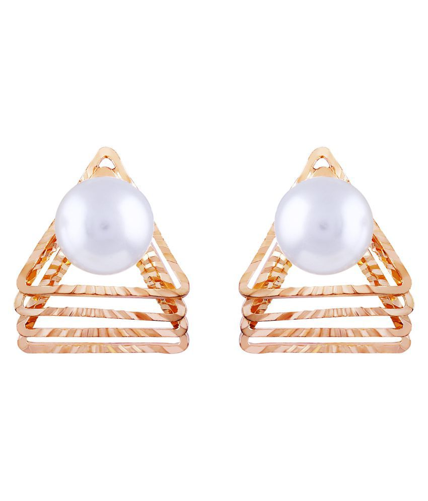 Asmitta Magnificent Trangle Shape With Pearl Gold Plated Stud Earring For Women