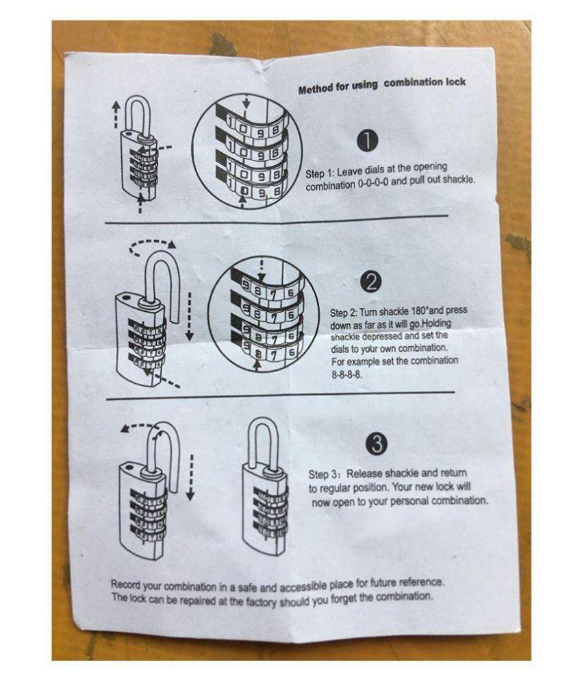 Heavy Duty 4 Digit Brass Lock Password Padlock Resettable Combination for  Cabinet