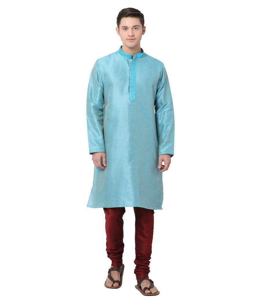 Tabard Blue Silk Blend Kurta Pyjama Set