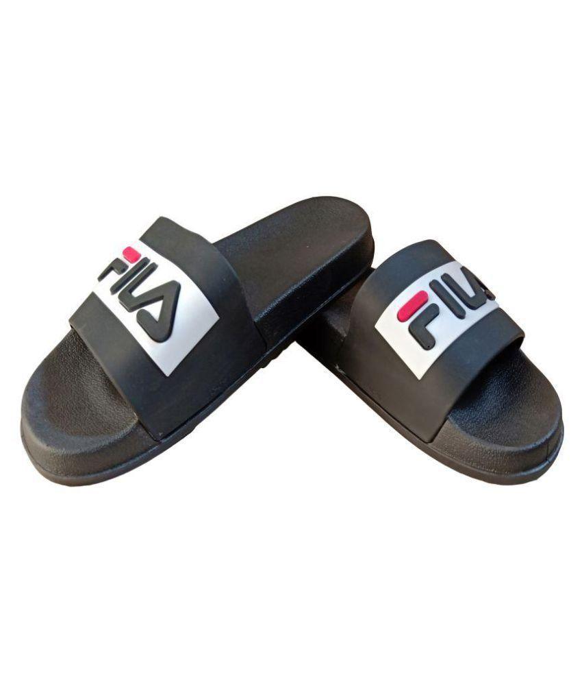 52daa23a5 Fila Black Slide Flip flop Price in India- Buy Fila Black Slide Flip flop  Online at Snapdeal