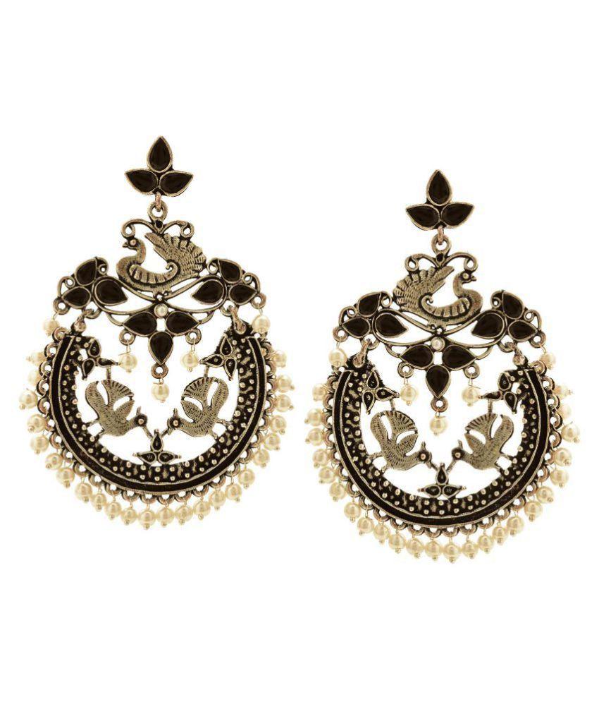 Archi Collection Fashion Jewellery Stylish Antique Boho Vintage Oxidised Silver Statement Chandbali Dangler Earrings
