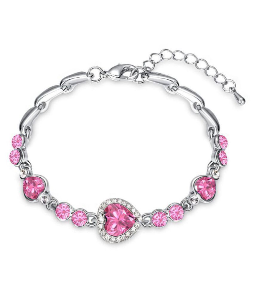 Oviya Rhodium Plated Valentine Collection Magical Love Heart Bracelet with Pink Crystal Stones BR2100340RPin