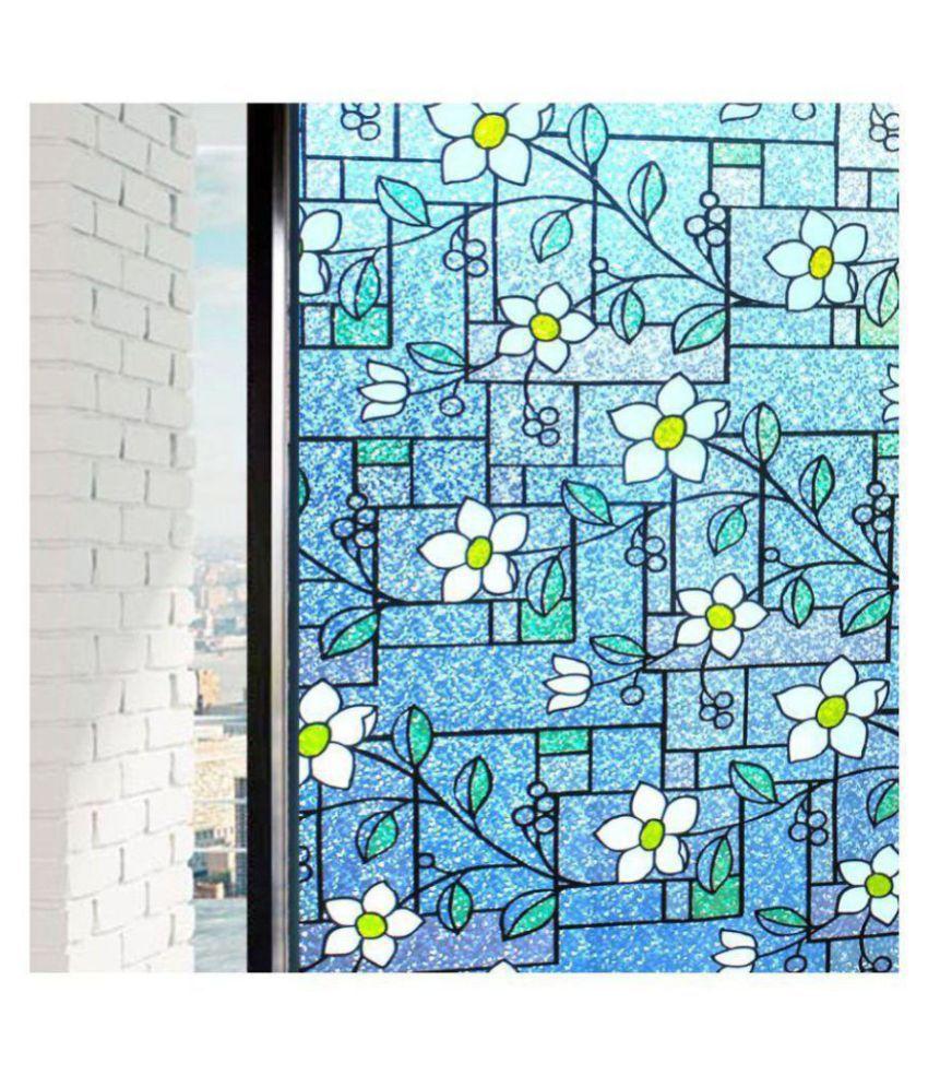 Rising Sparkle PVC Boxy Blue Static Glass Film Rectangular Decoratives Panel Blue - Pack of 1