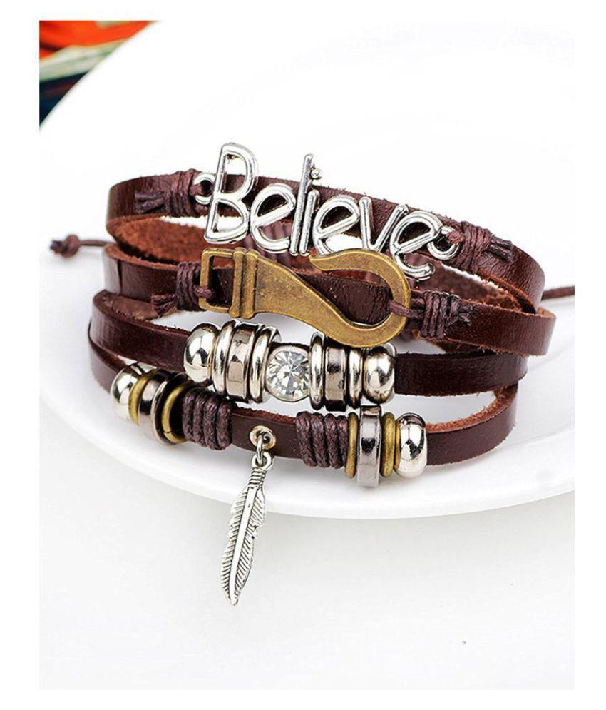 ZIVOM® Stylish Believe 100% Genuine Brown Leather Beads Leaf Charm Multi-Strand Unisex Bracelet Men Boys