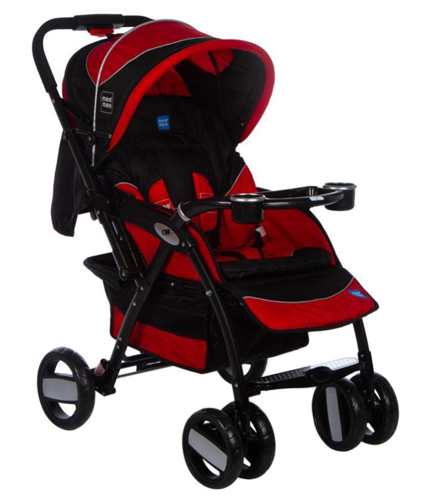 Mee Mee Advanced Baby Pram with Shock Absorber Wheels (Red)