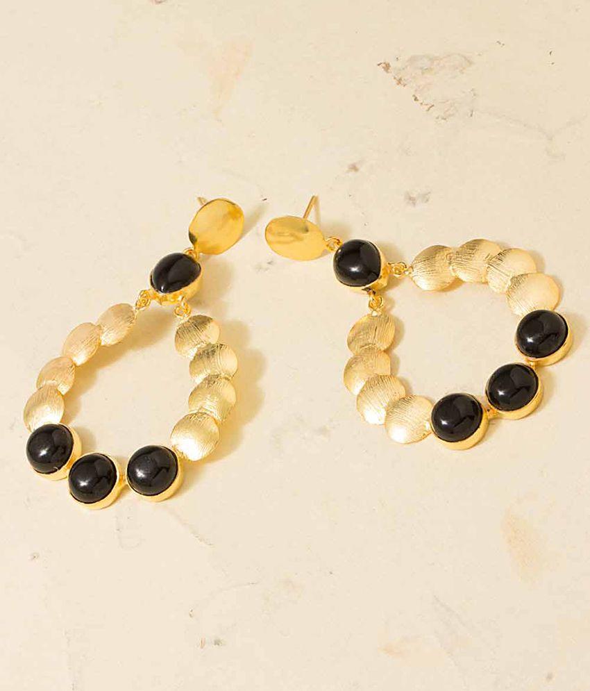 Voylla Black Stone Decked Golden Dangler Earrings