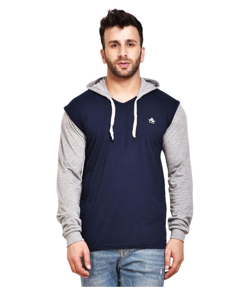 AD & AV Blue Full Sleeve T-Shirt Pack of 1