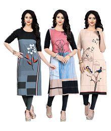 Fashion Tree Multicoloured Crepe Straight W Style Kurti