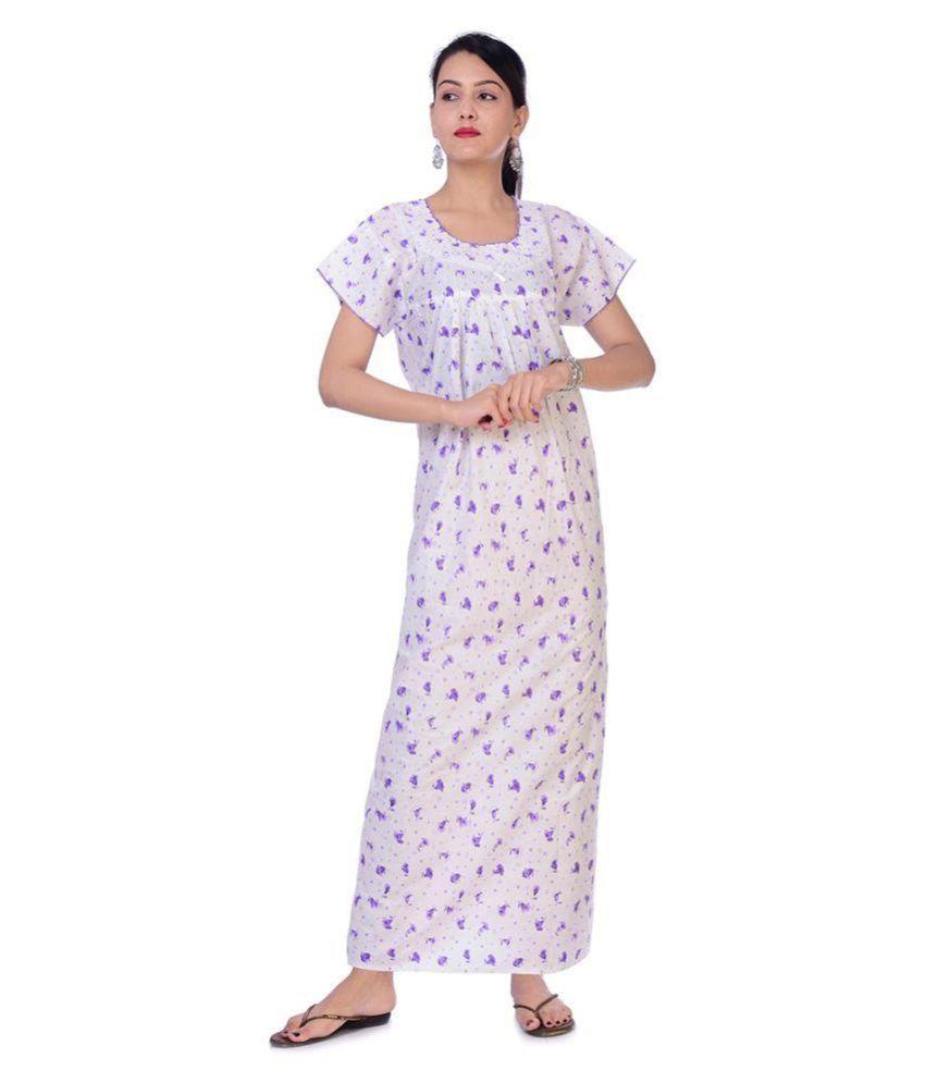 rajeraj Cotton Nighty & Night Gowns - White