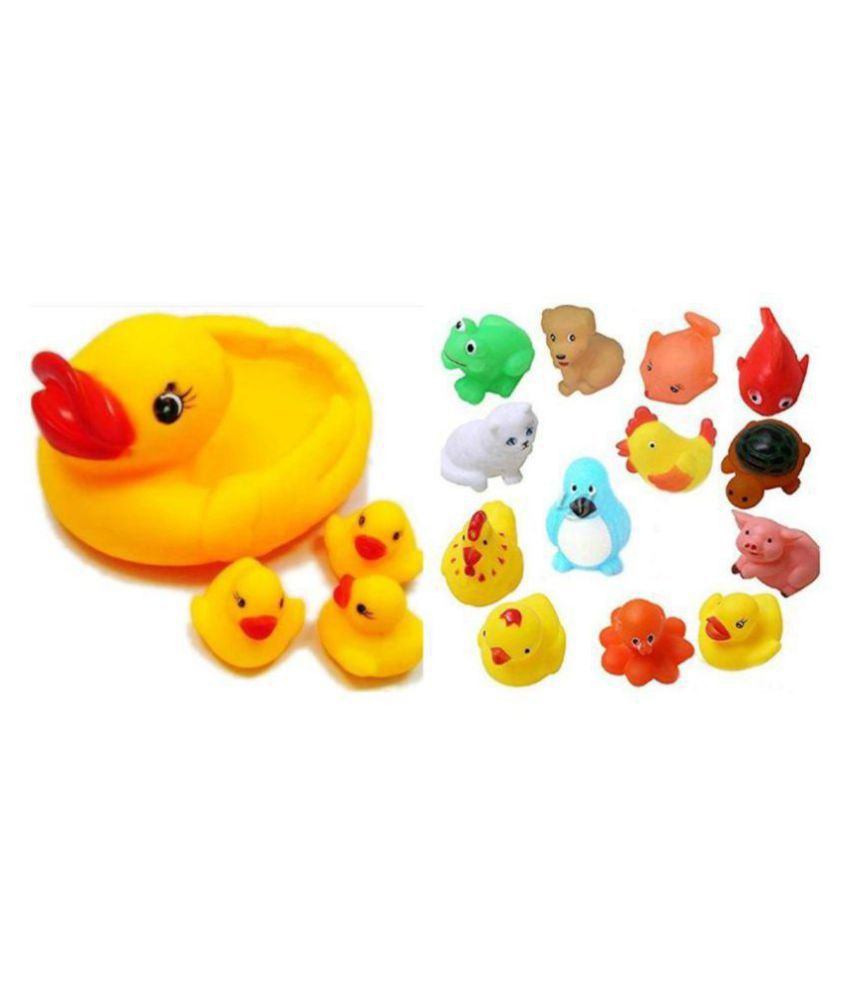 Creative Kids Combo of Bath Toys 8 Pcs. & Duck Family Baby Toys-Set of 4-Multi Colour