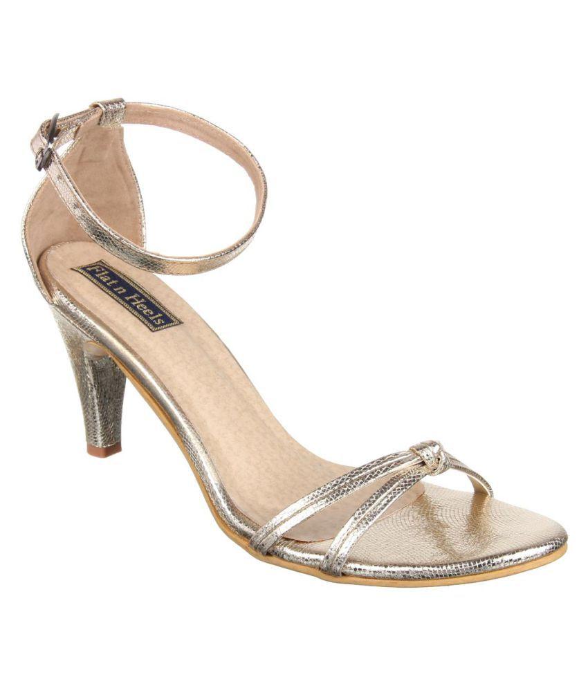 Flat N Heels Gold Stiletto Heels