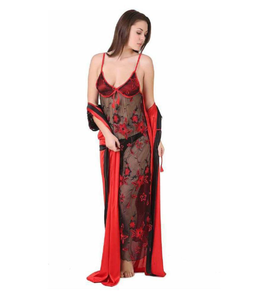 Grind Sapphire Satin Nighty & Night Gowns - Red