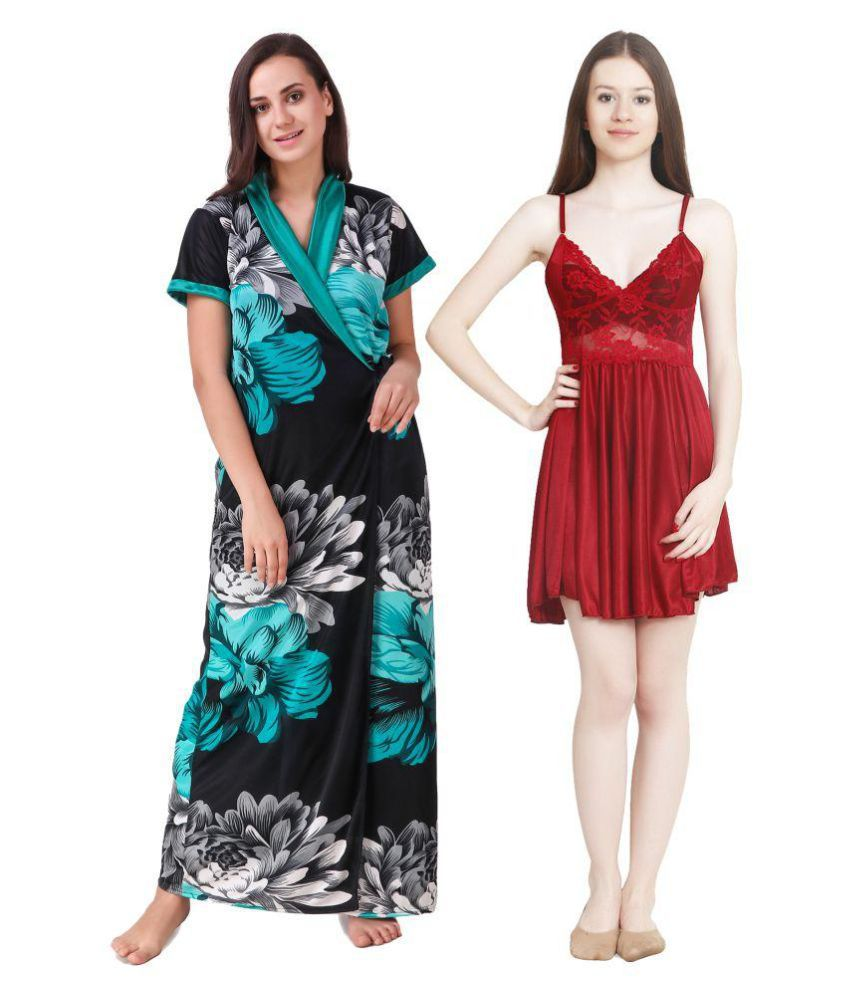 keoti Satin Nighty & Night Gowns - Multi Color