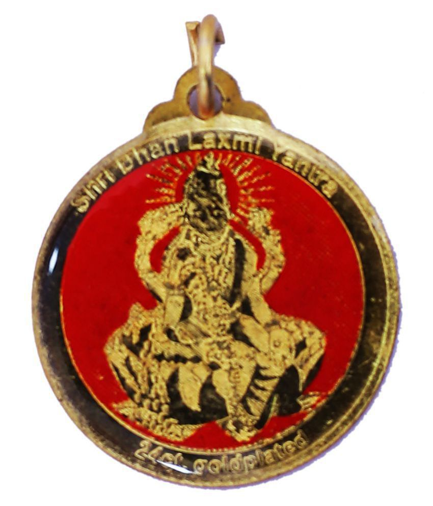 Dhan laxmi locket gold plated with silk dori good for health& wealth,busniess,sucess/brahmgyan gallary