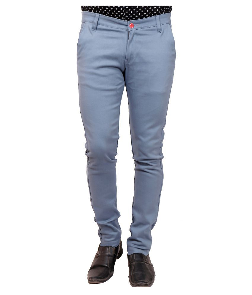 Celebrino Blue Regular -Fit Flat Chinos