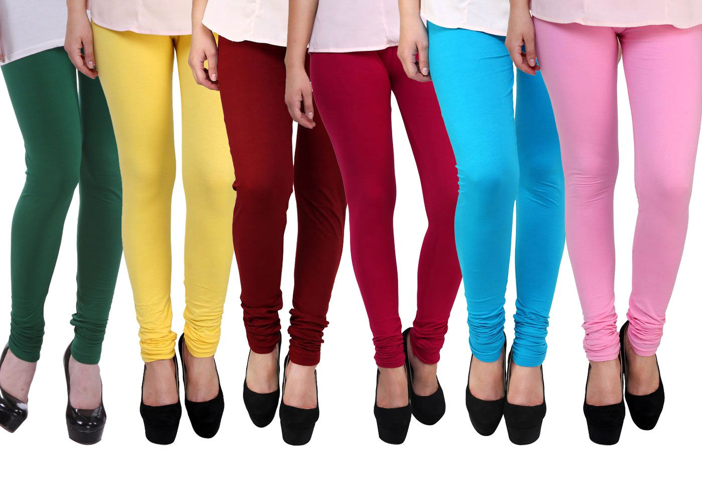 FnMe Cotton Lycra Pack of 6 Leggings